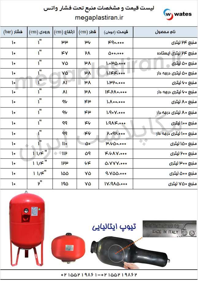 لیست قیمت مخزن تحت فشار واتس منبع تحت فشار wates